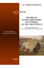 POURQUOI NOTRE MINISTÈRE EST STÉRILE OU PEU FRUCTUEUX