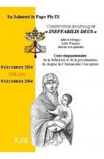 """CONSTITUTION APOSTOLIQUE """"INEFFABILIS DEUS"""", proclamation du dogme de l'Immaculée Conception"""